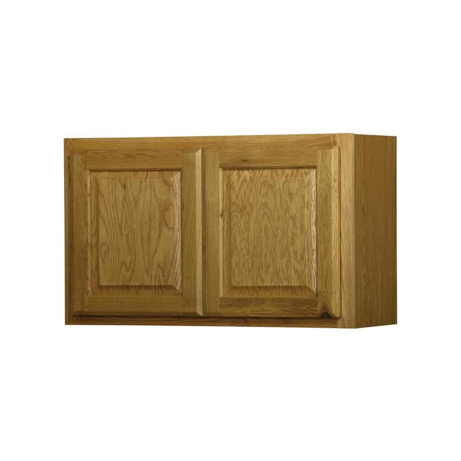 Unfinished brown oak double door kitchen wall cabinet at lowes com - Diamond Now Portland 30 In W X 18 In H X 12 In