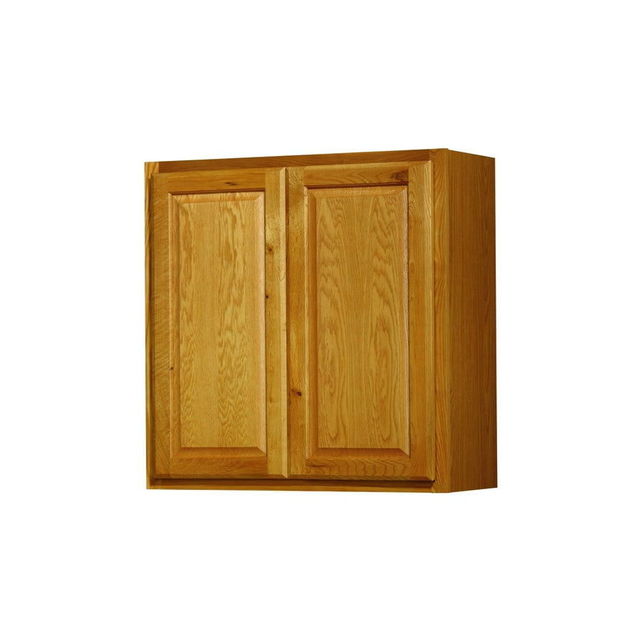 Diamond NOW Portland 30-in W x 30-in H x 12-in D Stained Wheat Door Wall Cabinet