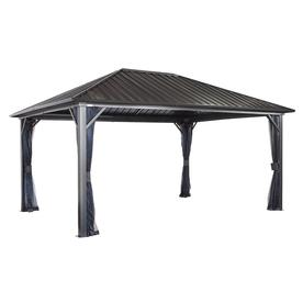 Sojag Genova Dark Grey Metal Screened Semi Permanent Gazebo 190 94 W X 114 84 H