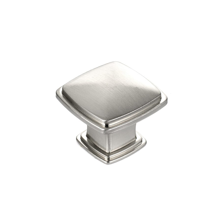 Shop richelieu expression brushed nickel square cabinet for Brushed nickel knobs for kitchen cabinets