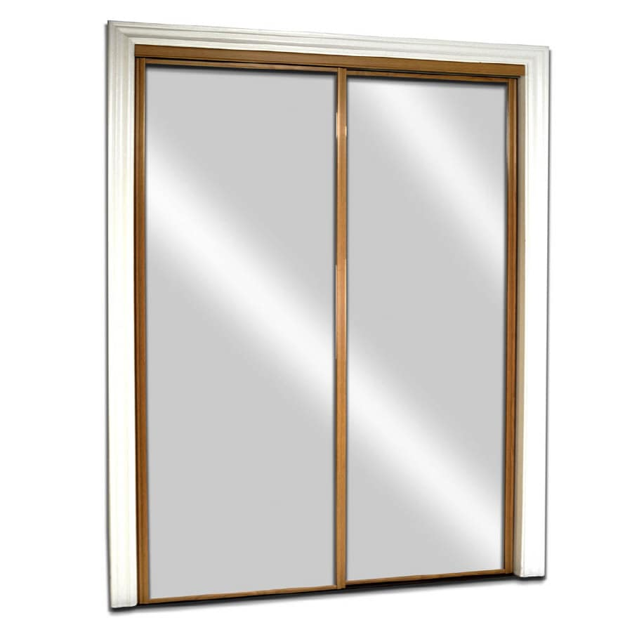 Shop reliabilt glass mirror flush mirror sliding closet for Interior sliding glass doors