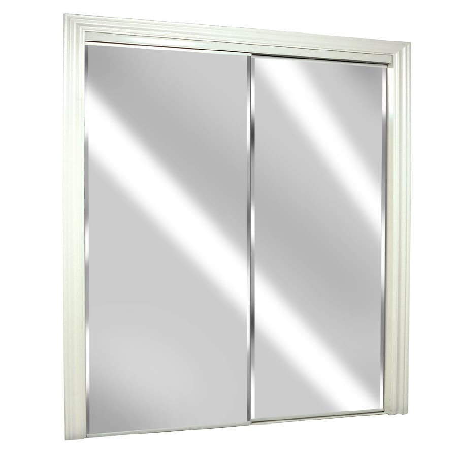 ReliaBilt (Glass/Mirror) Flush Mirror Sliding Closet Interior Door (Common: 60-in x 80-in; Actual: 60-in x 78-in)