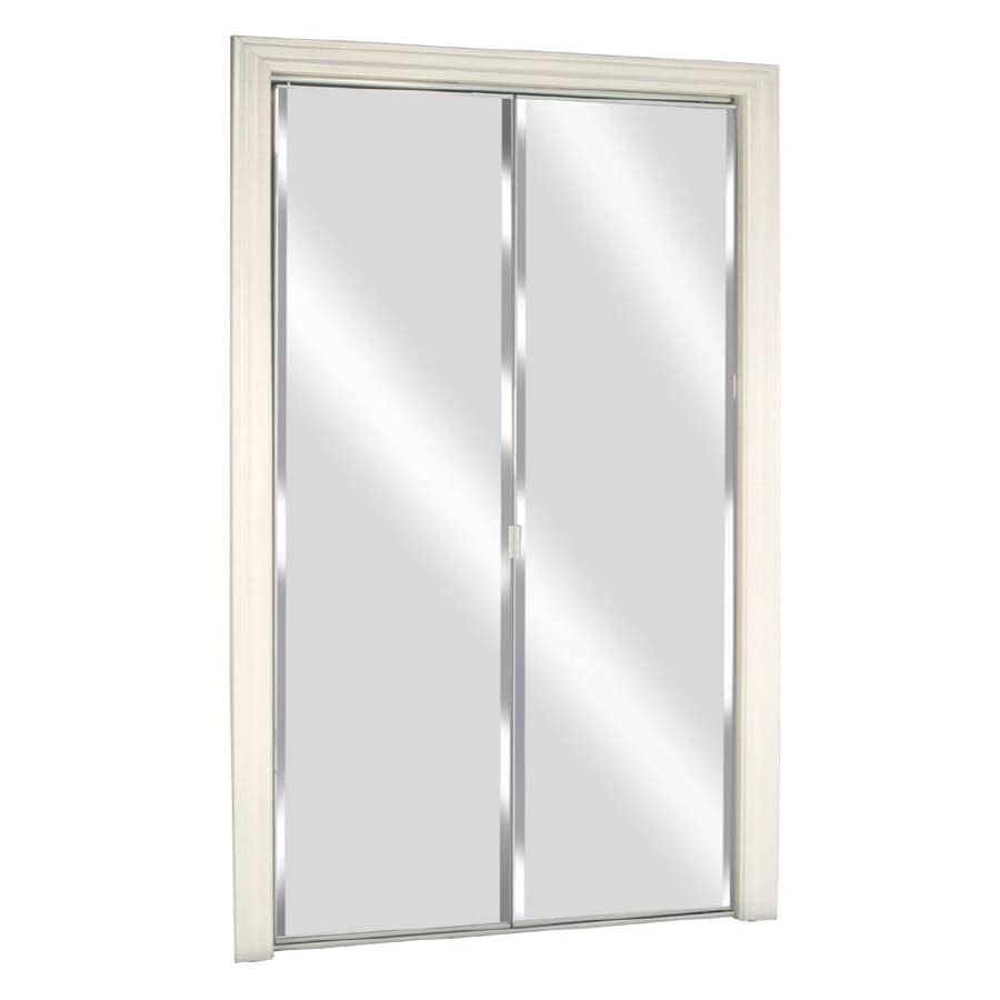 Mirrored Closet Doors Lowes shop reliabilt flush mirror bi-fold closet interior door (common