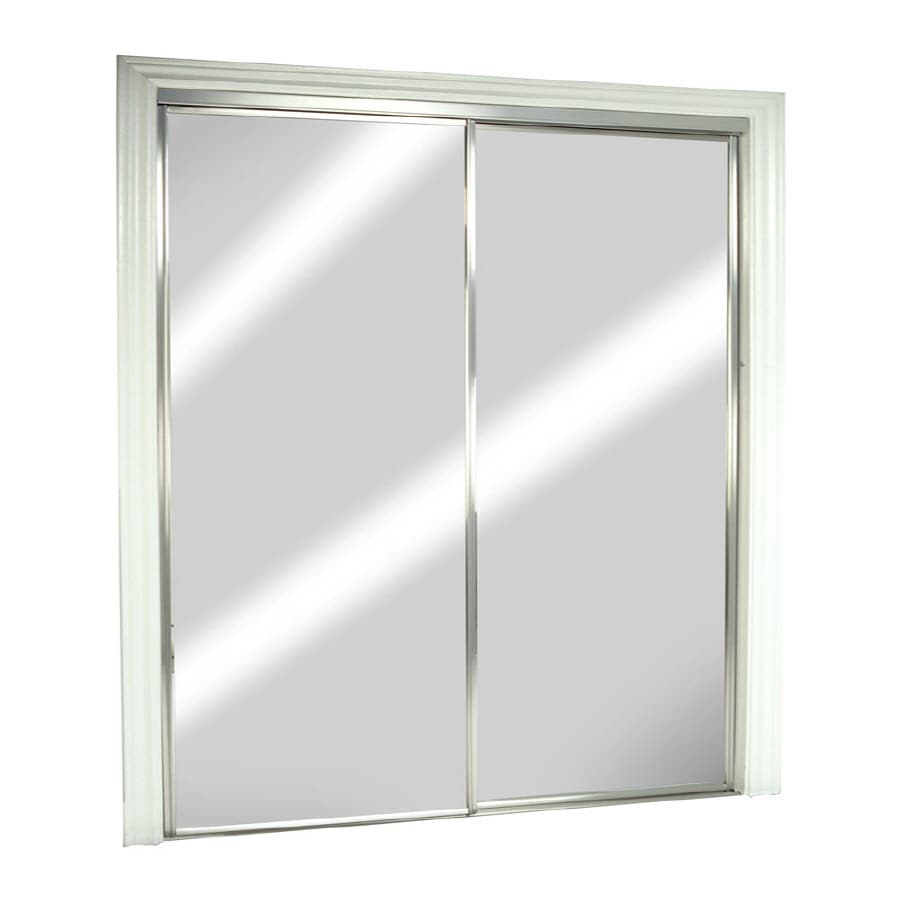 ReliaBilt Mirror Aluminum Sliding Closet Interior Door with Hardware (Common: 48-in x 80-in; Actual: 48-in x 78-in)