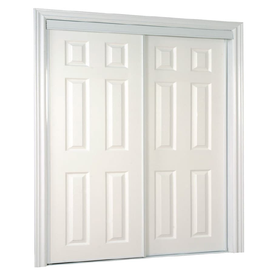 ReliaBilt White 6-Panel Mirror Sliding Closet Interior Door (Common: 72-in x 80-in; Actual: 72-in x 78-in)