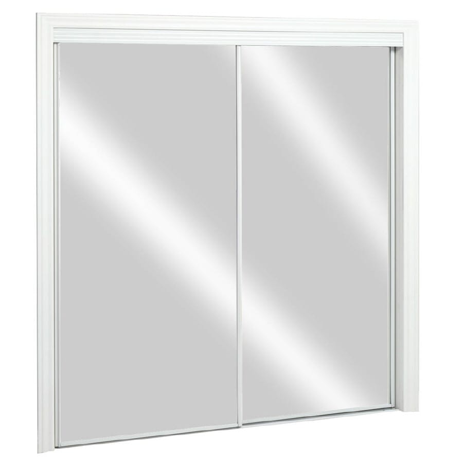 Shop Reliabilt Bright White Mirror Sliding Closet Door With Hardware