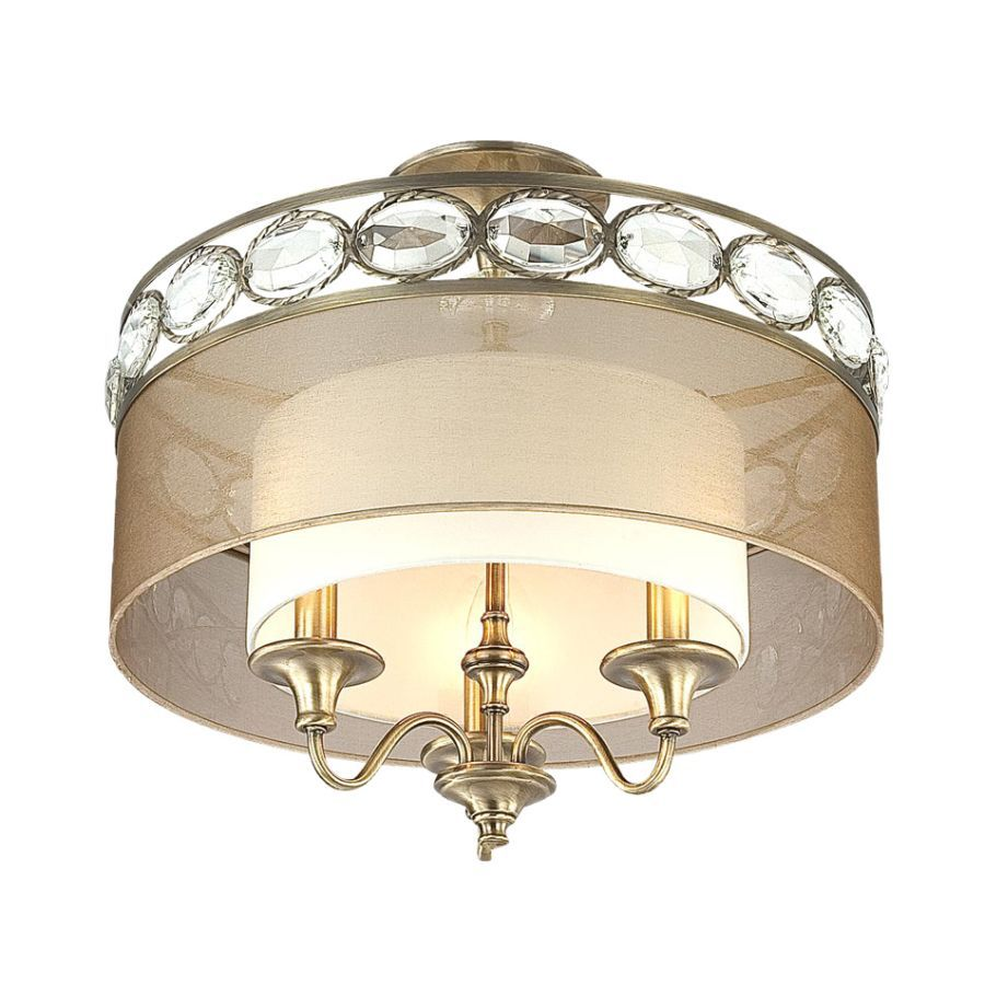 Portfolio 16-in W Antique Brass Textured Semi-Flush Mount Light