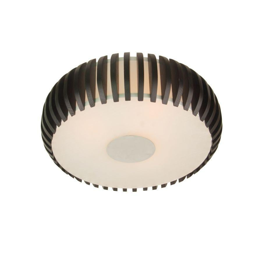 allen + roth 14.75-in W Black/White Standard Ceiling Flush Mount Light