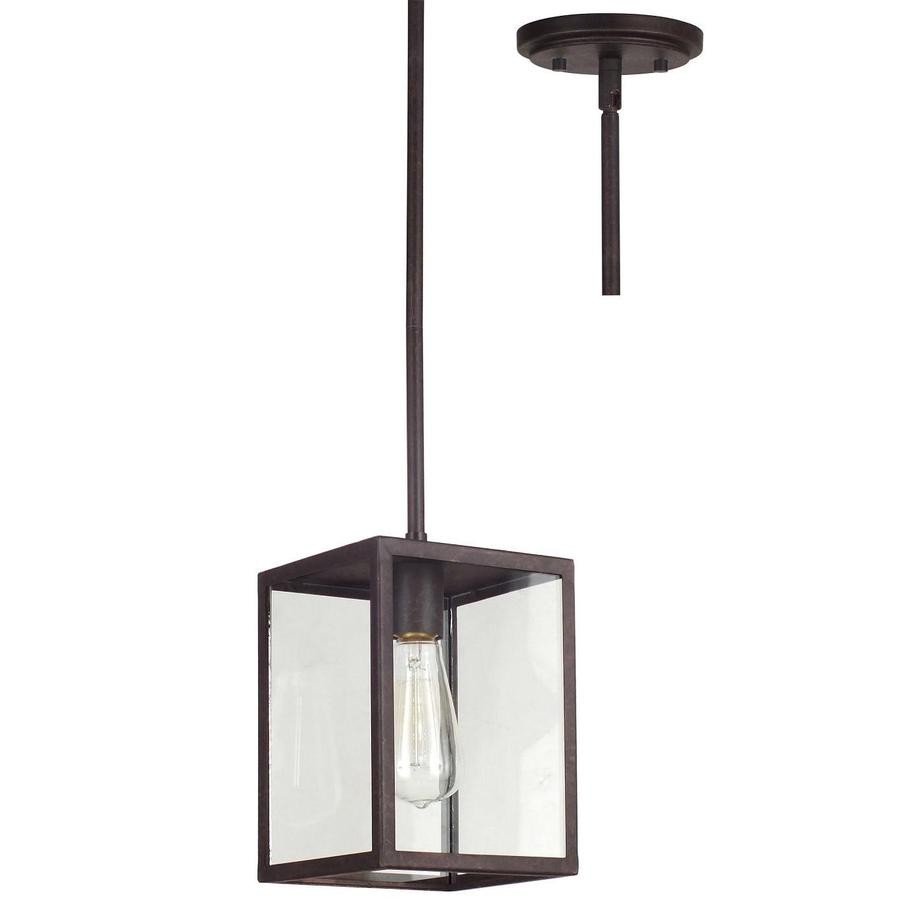Allen Roth Bristow 65 In Oil Rubbed Bronze Industrial Mini Clear Glass Rectangle Pendant