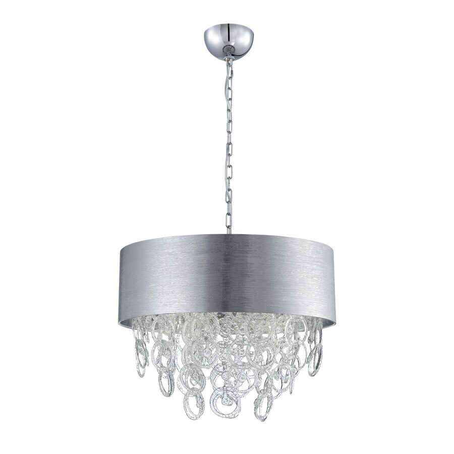 Eurofase Jura 23.5-in 6-Light Silver Drum Chandelier