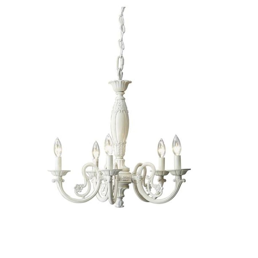 Shop style selections abrell 22 in 5 light antique white standard style selections abrell 22 in 5 light antique white standard chandelier aloadofball Images