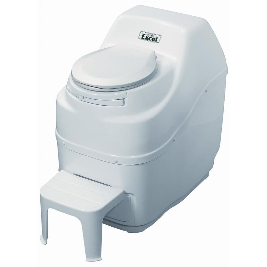 Sun-Mar Excel White Touchless Round Custom Height Composting Toilet 4-in Rough-In Size