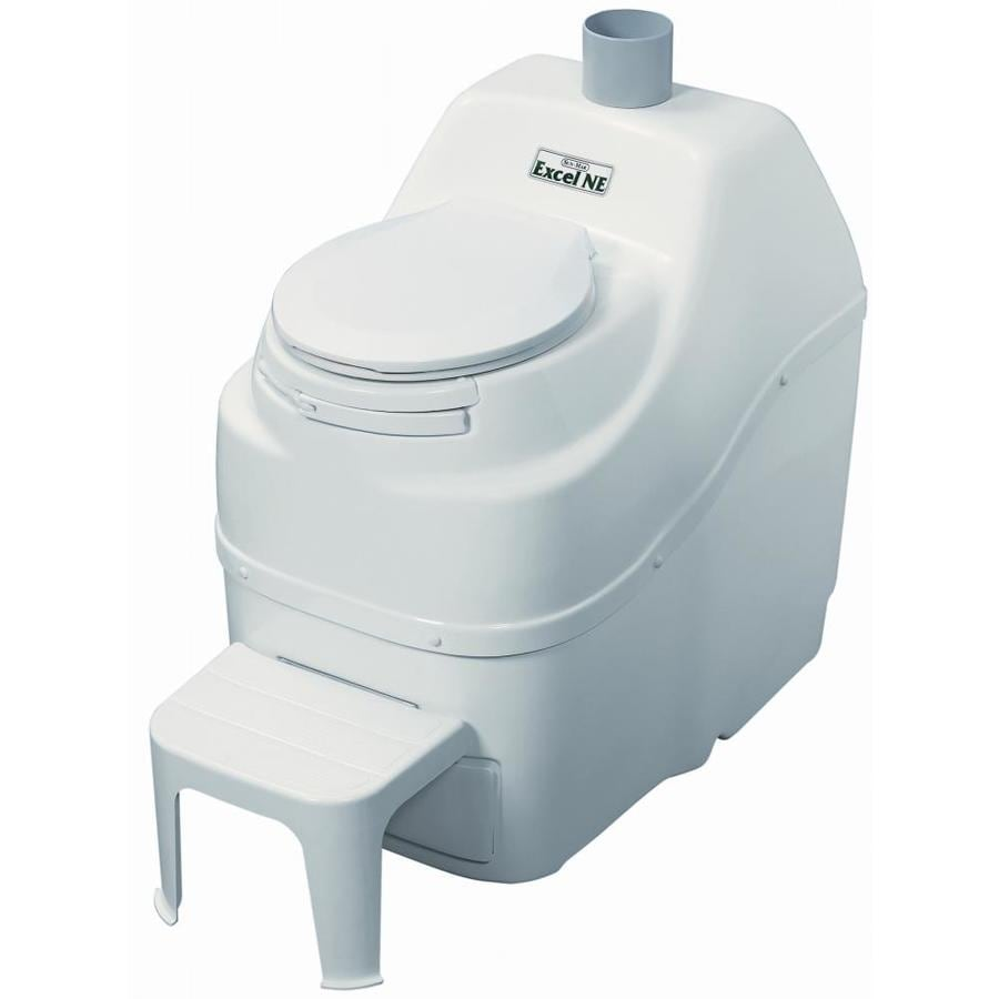 Sun-Mar Excel non-electric White Touchless Round Custom Height Composting Toilet 4-in Rough-In Size