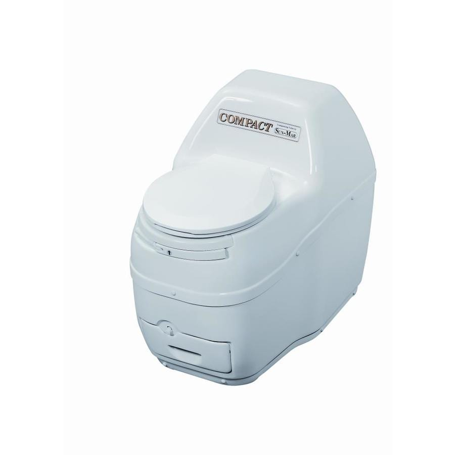 Sun-Mar Compact White Touchless Round Custom Height Composting Toilet 4-in Rough-In Size