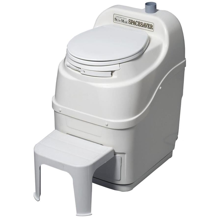 Sun-Mar Spacesaver 0.1-GPF White Round Custom Height Composting Toilet