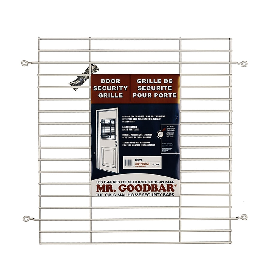 Mr. Goodbar 27-in x 24-in White Back Door Grille Window Security Bar