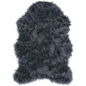 Style Selections Faux Fur Shaped Decorative Accents Gray Indoor Area Rug