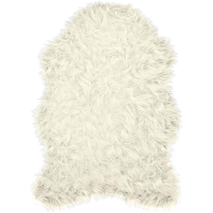 Style Selections Faux Fur Shaped Decorative Accents Ivory Indoor Area Rug In The Rugs Department At Lowes Com