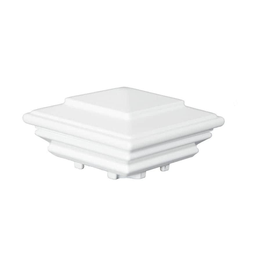 Classic (Fits Common Post Measurement: ; Actual: 2.75 x 4.25 x 7.0) White Aluminum Deck Post Cap