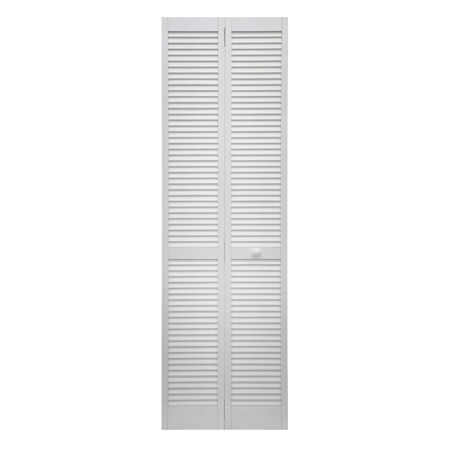 36 In X 80 In Pine Unfinished 2 Panel Full Louver Wood: ReliaBilt White Louver Wood Pine Bifold Door With Hardware