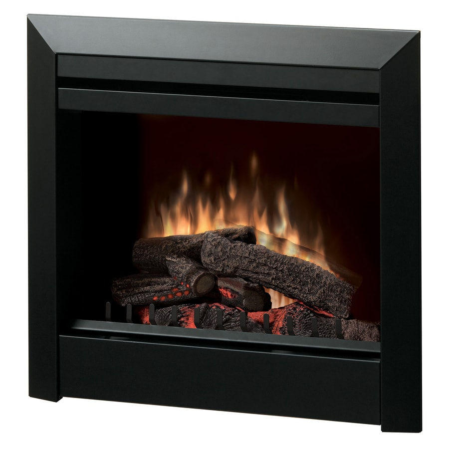 Shop Dimplex 29 8 In W 4 692 Btu Black Metal Fan Forced Electric Fireplace With Thermostat And