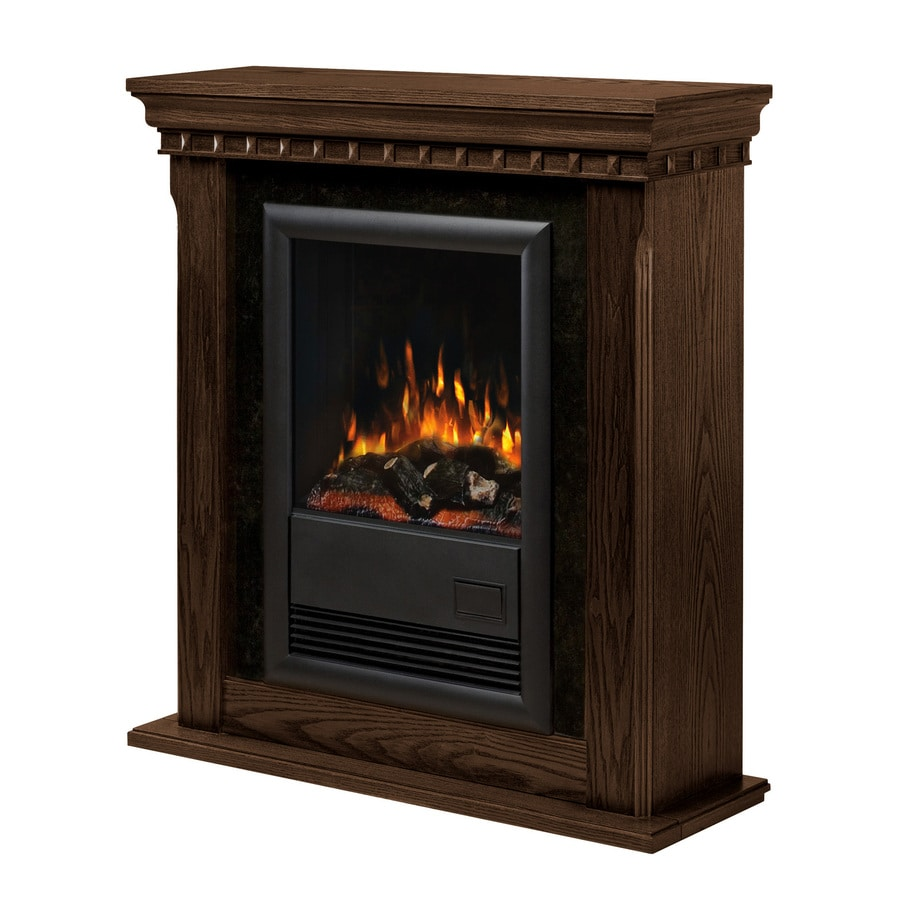 Electralog 34-in W 5,120-BTU Nutmeg Wood and Metal Wall-Mount Electric Fireplace with Remote Control