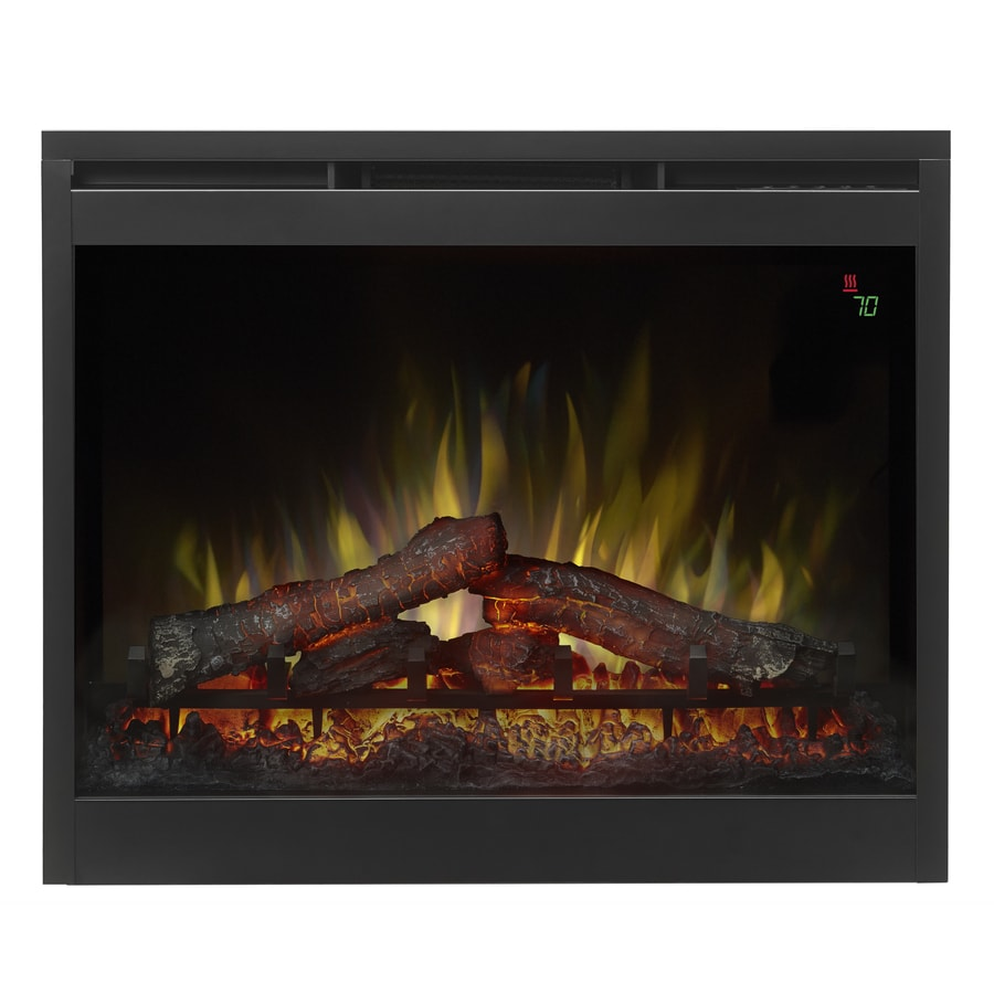Dimplex 27.38-in W 5,118-BTU Black Wood Veneer Fan-Forced Electric Fireplace with Thermostat and Remote Control
