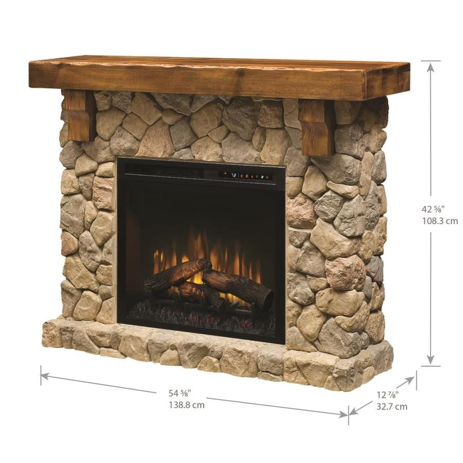 Dimplex Fieldstone Mantel Electric Fireplace With Logs In The Electric Fireplaces Department At Lowes Com