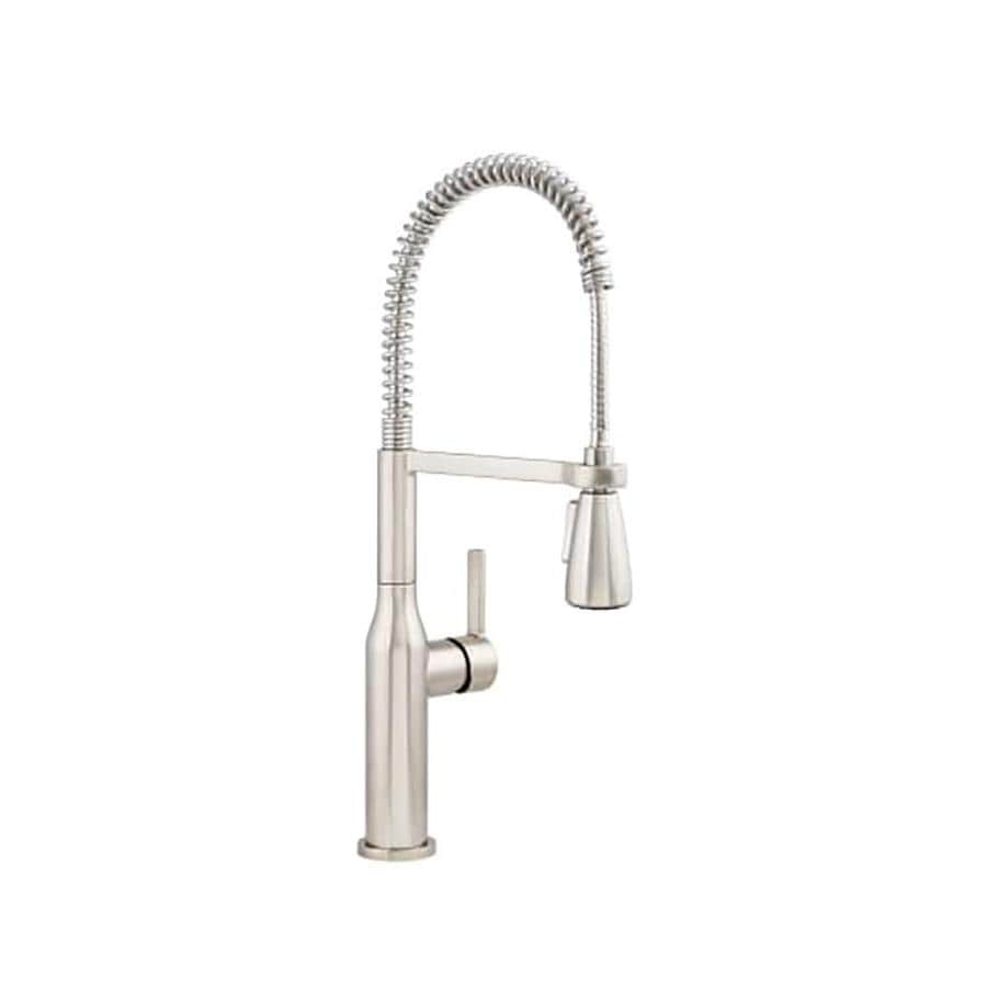 Miseno Galleria Stainless Steel 1 Handle Deck Mount Pull Down Handle Kitchen Faucet Deck Plate Included In The Kitchen Faucets Department At Lowes Com