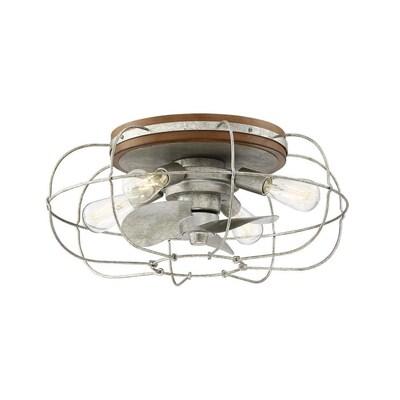 Allen Roth Junction 22 In Silver Led Indoor Commercial Residential Flush Mount Ceiling Fan