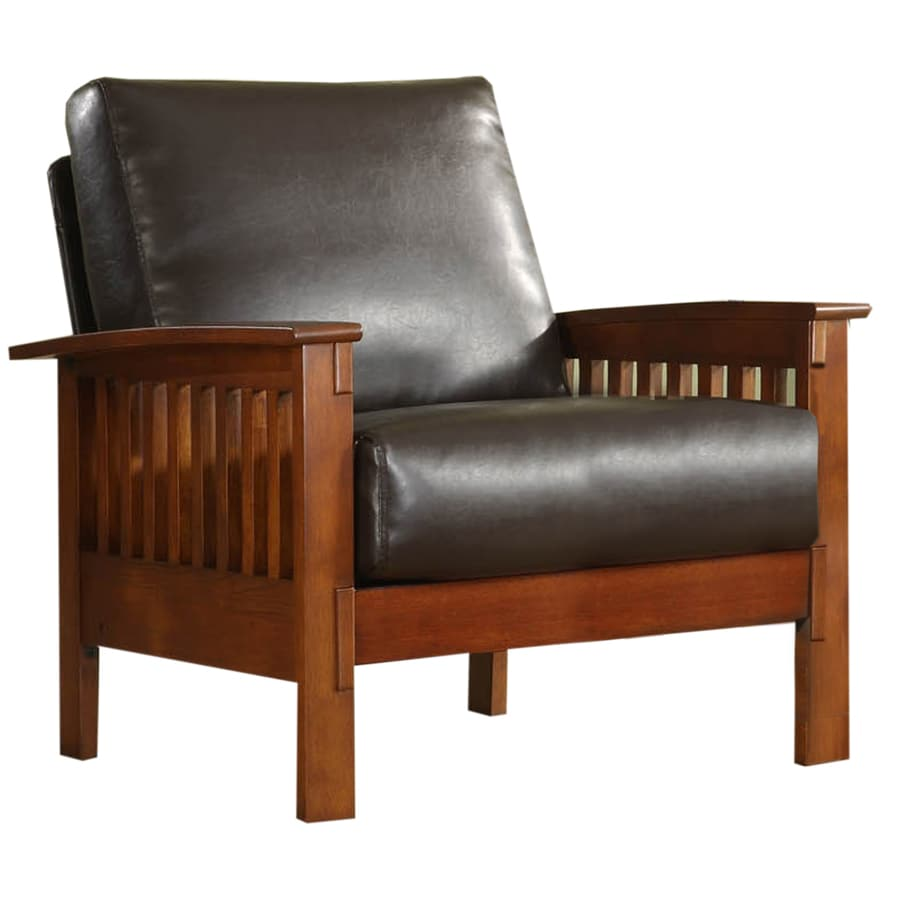 Home Sonata Modern Oak Faux Leather Accent Chair