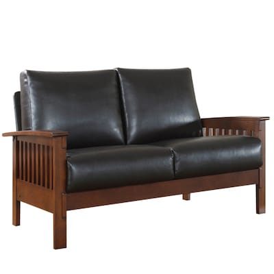 Marvelous Home Sonata Oak Faux Leather Loveseat At Lowes Com Andrewgaddart Wooden Chair Designs For Living Room Andrewgaddartcom