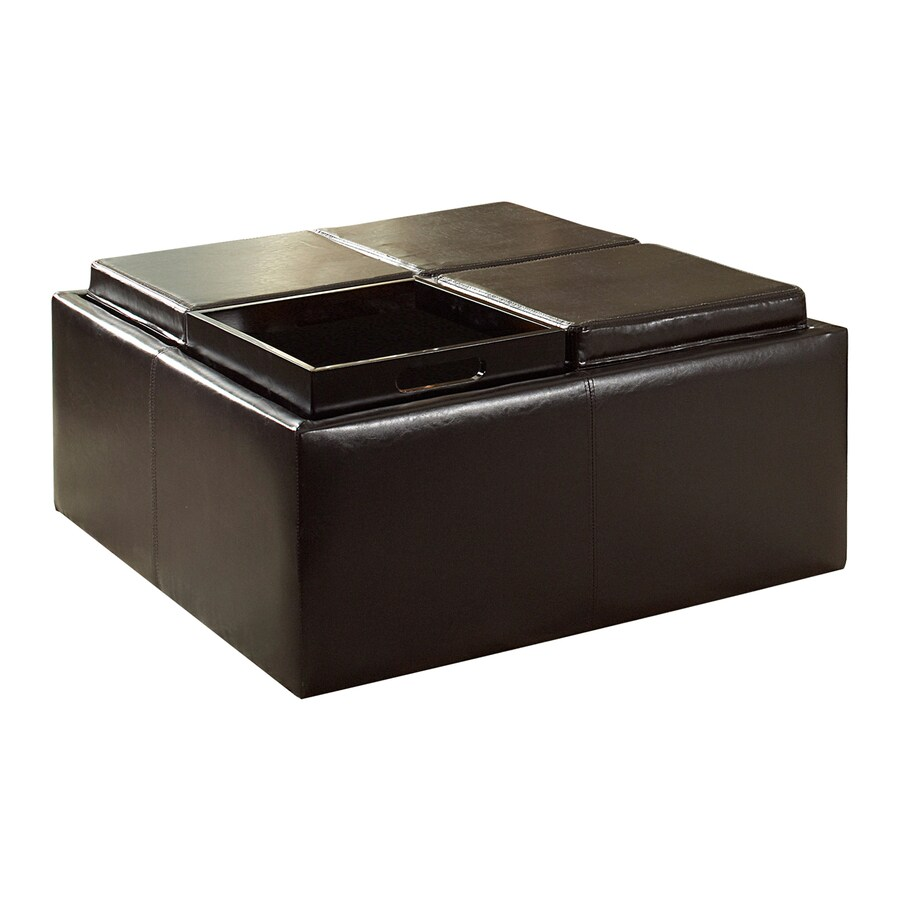 Home Sonata Dark Brown Square Storage Ottoman