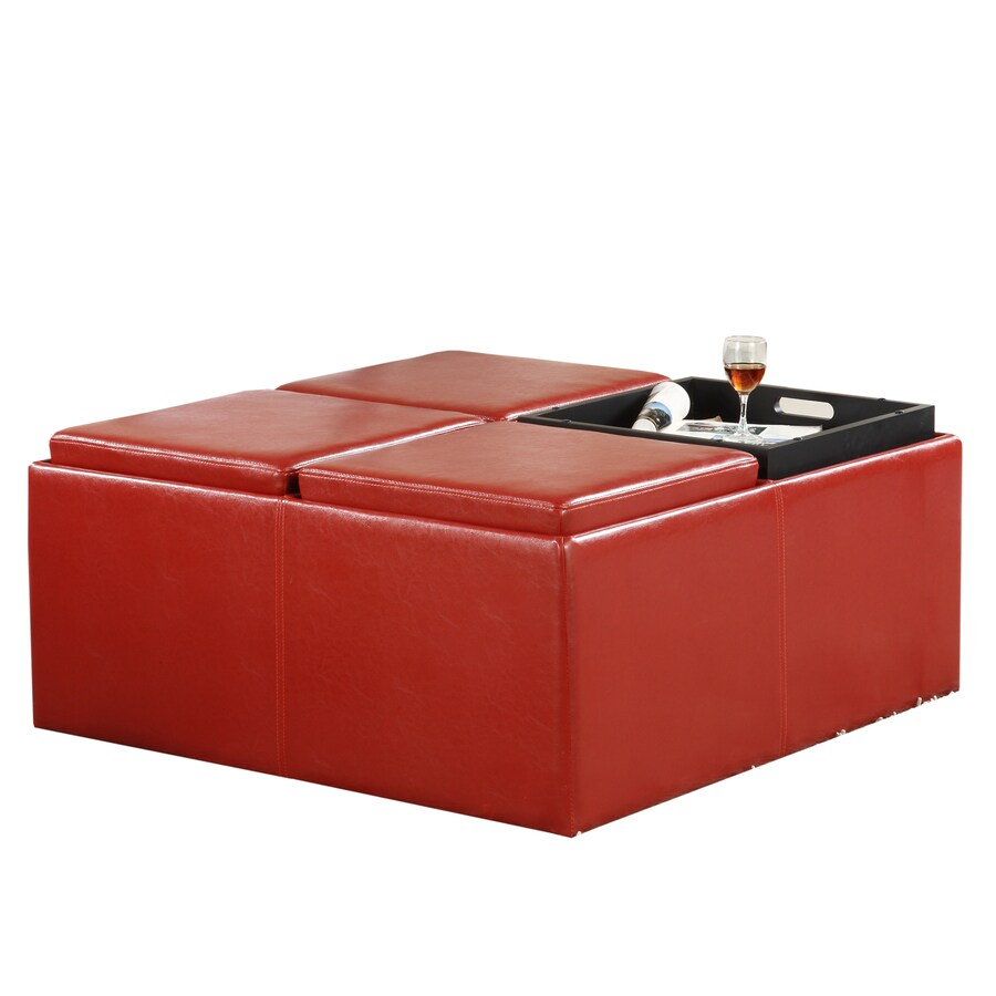 Home Sonata Modern Red Vinyl Storage Ottoman  sc 1 st  Loweu0027s & Shop Home Sonata Modern Red Vinyl Storage Ottoman at Lowes.com
