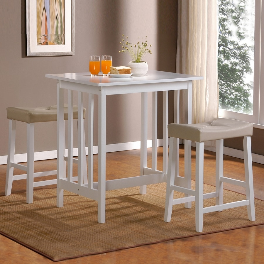Shop home sonata white 3 piece dining set with counter for Counter height dining set