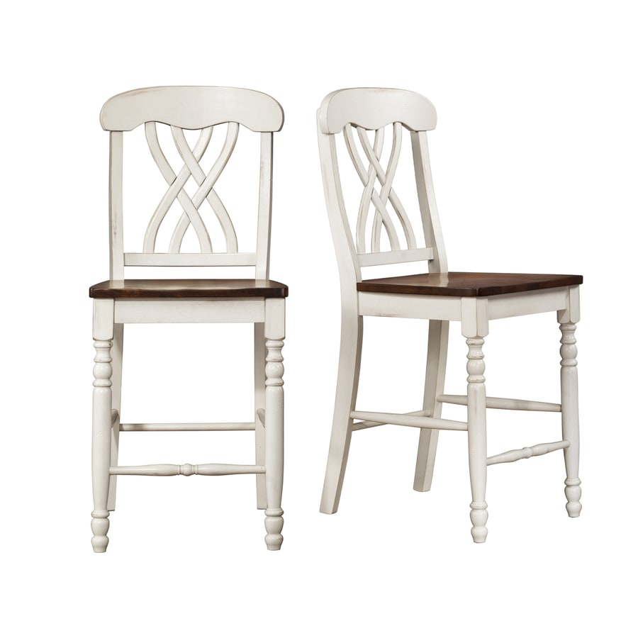Home Sonata White and Oak 24-in Counter Stool