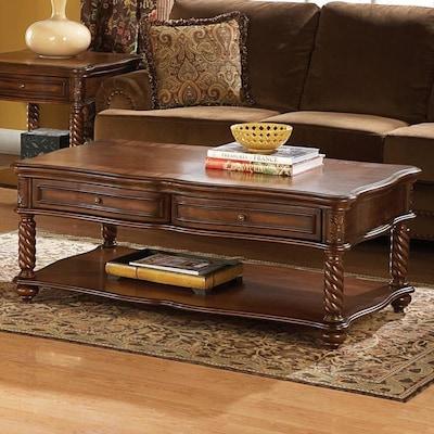 Excellent Homelegance Trammel Medium Brown Wood Coffee Table At Lowes Com Inzonedesignstudio Interior Chair Design Inzonedesignstudiocom