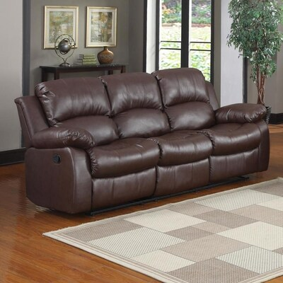 Astonishing Homelegance Cranley Casual Brown Faux Leather Reclining Sofa Short Links Chair Design For Home Short Linksinfo