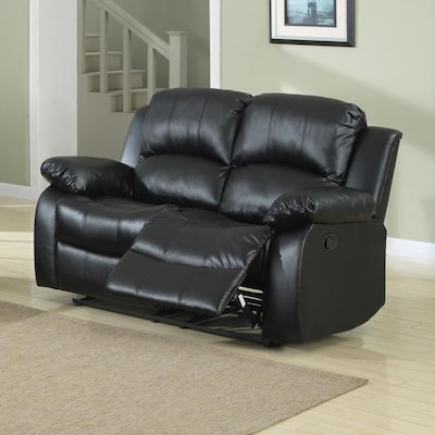 Phenomenal Cranley Casual Black Faux Leather Reclining Loveseat Machost Co Dining Chair Design Ideas Machostcouk