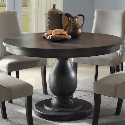 Dandelion Distressed Taupe Wood Round Dining Table