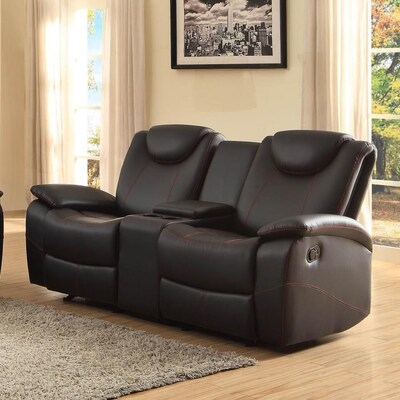 Outstanding Talbot Casual Black Faux Leather Reclining Loveseat Machost Co Dining Chair Design Ideas Machostcouk
