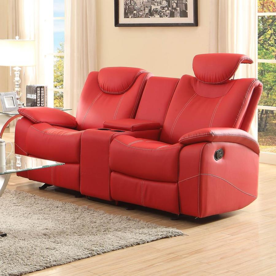 Homelegance Talbot Casual Red Faux Leather Reclining Sofa at Lowes.com