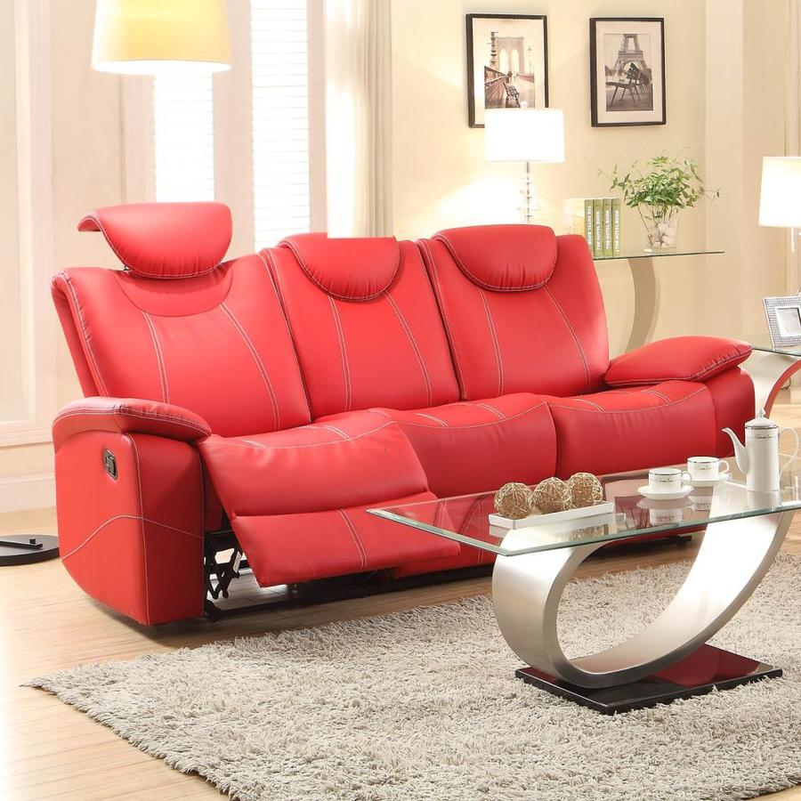 Homelegance Talbot Modern Red Faux Leather Reclining Sofa at Lowes.com