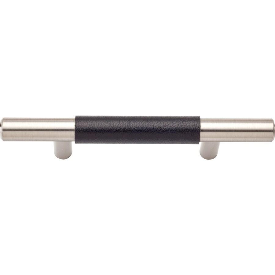 Lola & Company 3-in Center-to-Center Brushed Nickel/Brown Leather Zanzibar Bar Cabinet Pull