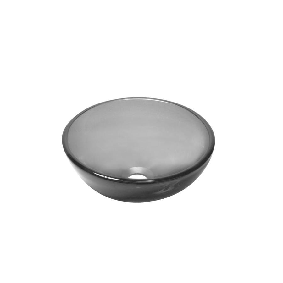 Mini Vessel Bathroom Sinks.Novatto Mini Grey Tempered Glass Vessel Round Bathroom Sink At Lowes Com