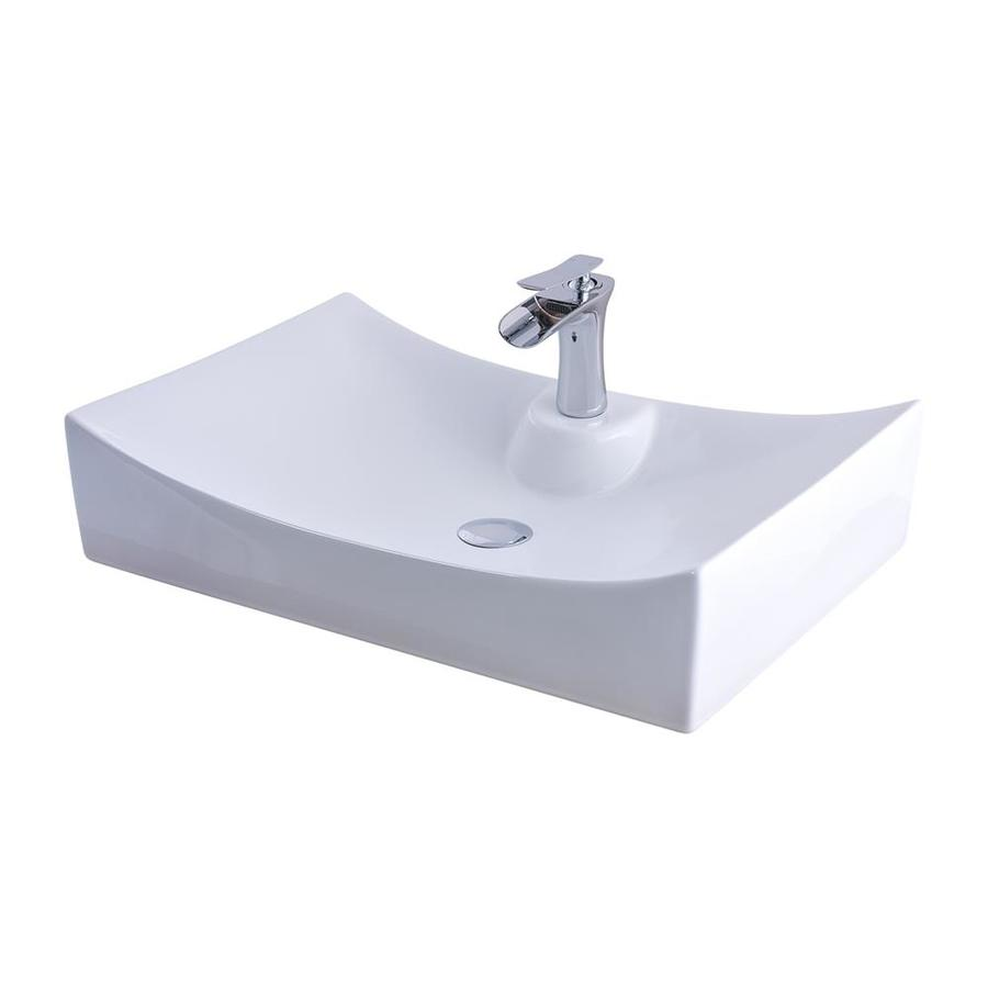 Novatto Glossy White Porcelain Vessel Rectangular Bathroom