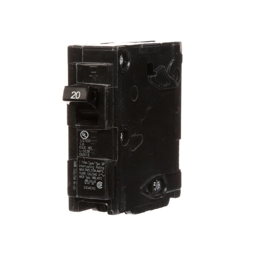 Shop Siemens Qp 20-Amp 1-Pole Main Circuit Breaker at Lowes.com