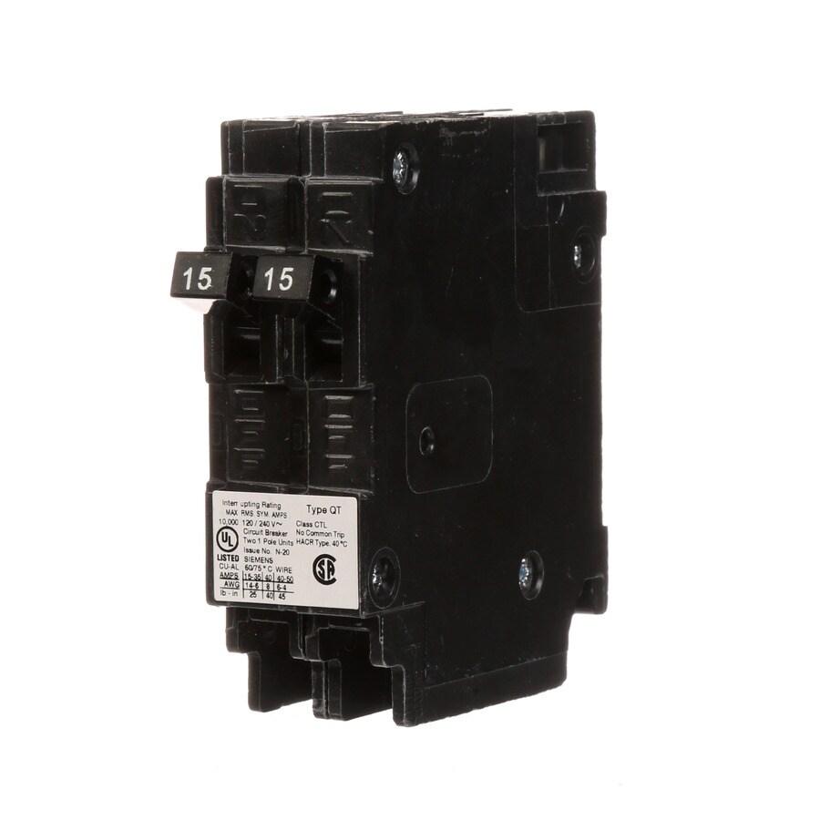 Siemens Qt 15-Amp 2-Pole Tandem Circuit Breaker at Lowes com