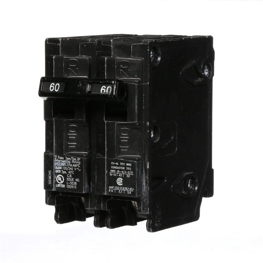 Shop siemens qp 60 amp 2 pole quad circuit breaker at lowes siemens qp 60 amp 2 pole quad circuit breaker greentooth Images