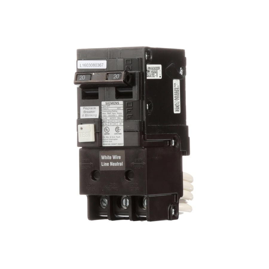 Shop Siemens Qp 20 Amp 2 Pole Ground Fault Circuit Breaker